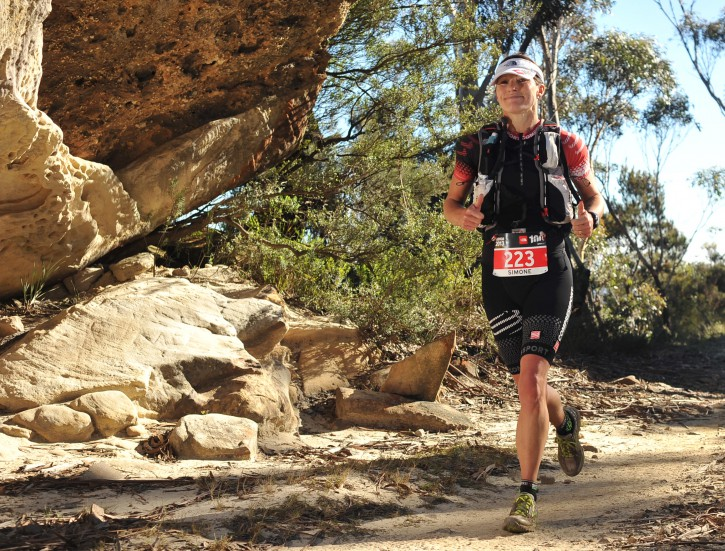 Simone running The North Face 100 in the stunning Blue Mountains
